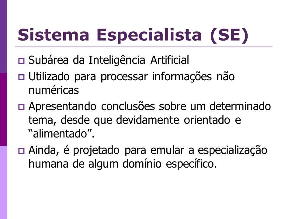 Sistema Especialista (SE) Subárea da Inteligência Artificial Utilizado para processar informações não numéricas Apresentando conclusões sobre um determinado tema, desde que devidamente orientado e alimentado.