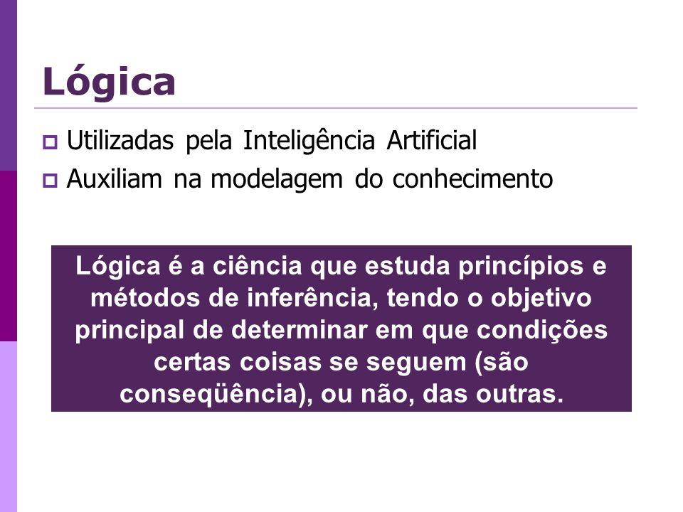 Utilizadas pela Inteligência Artificial Auxiliam na modelagem do conhecimento Lógica é a ciência que estuda princípios e métodos de inferência, tendo o objetivo principal de determinar em que condições certas coisas se seguem (são conseqüência), ou não, das outras.