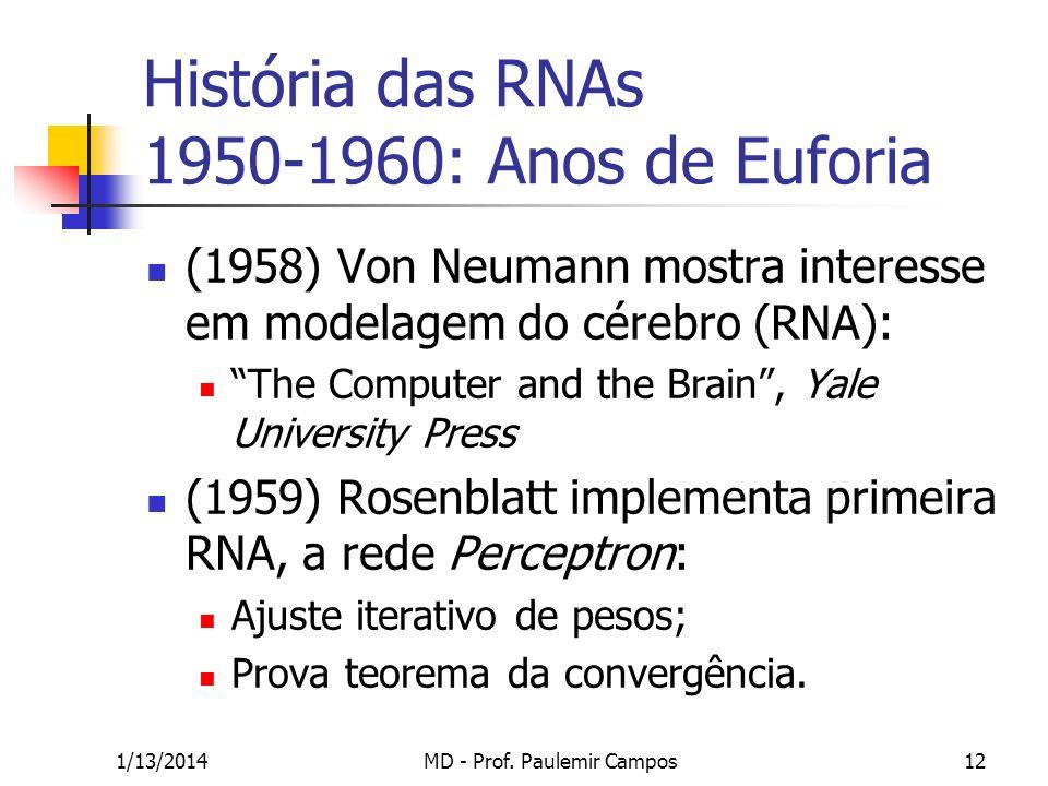 1/13/2014MD - Prof. Paulemir Campos12 História das RNAs 1950-1960: Anos de Euforia (1958) Von Neumann mostra interesse em modelagem do cérebro (RNA):