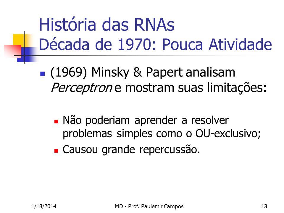 1/13/2014MD - Prof. Paulemir Campos13 História das RNAs Década de 1970: Pouca Atividade (1969) Minsky & Papert analisam Perceptron e mostram suas limi