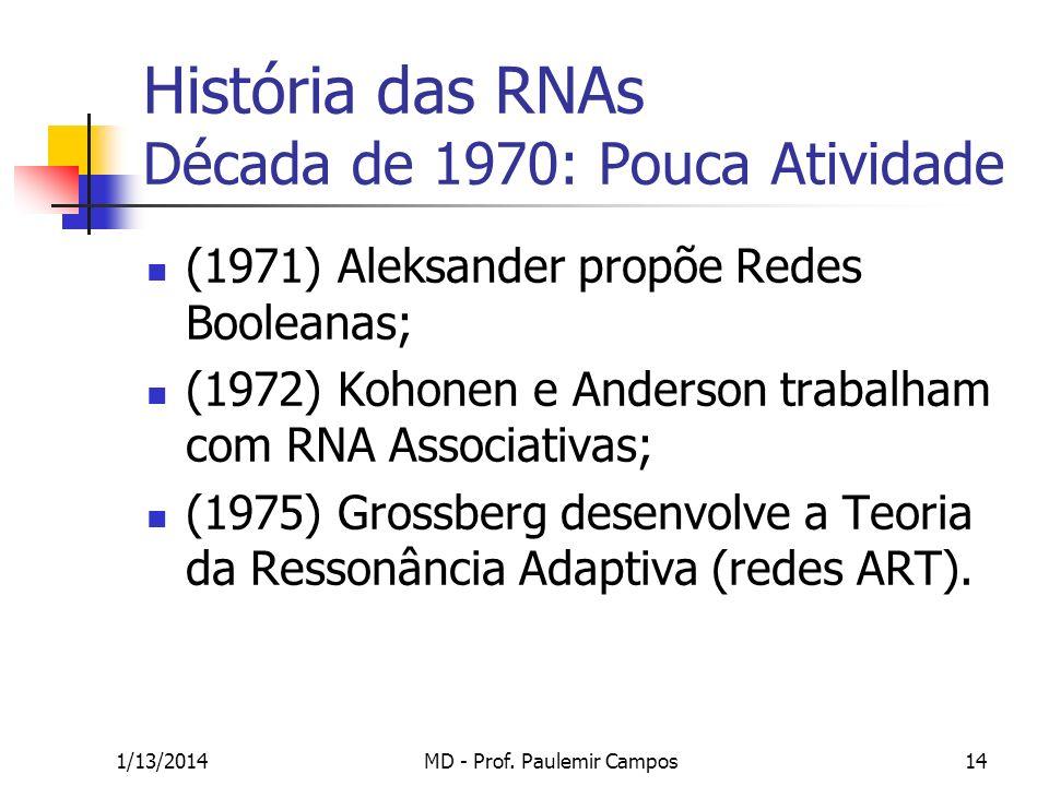 1/13/2014MD - Prof. Paulemir Campos14 História das RNAs Década de 1970: Pouca Atividade (1971) Aleksander propõe Redes Booleanas; (1972) Kohonen e And