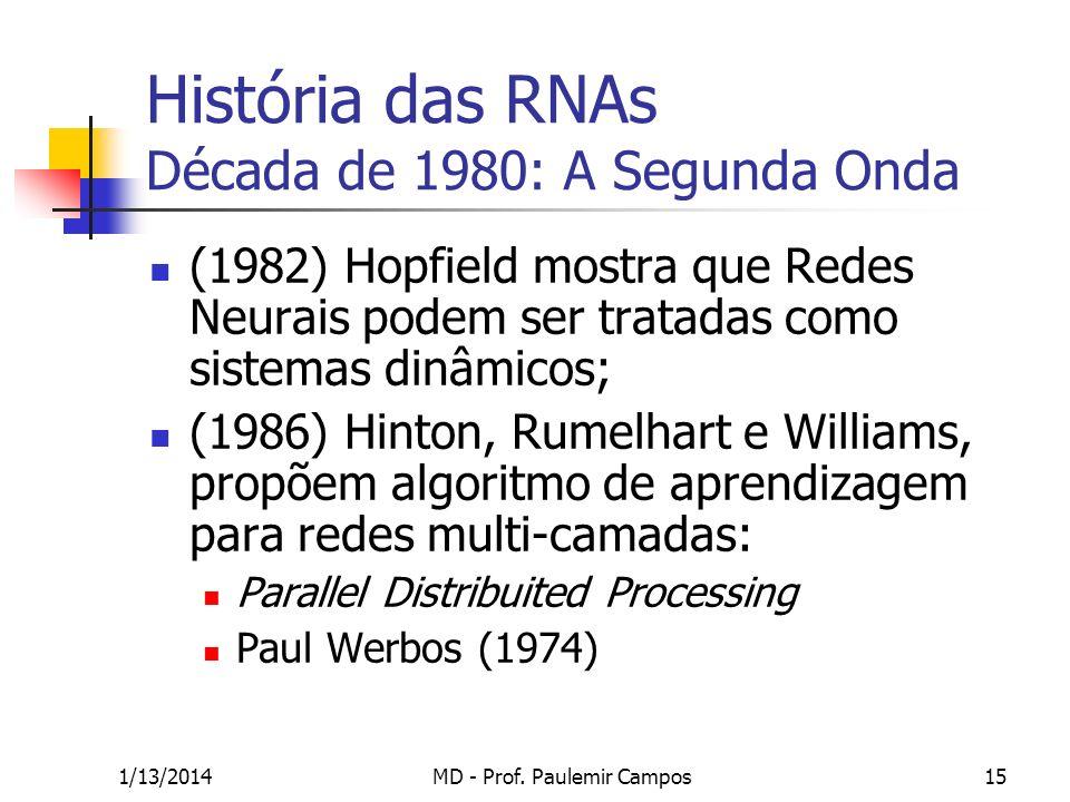 1/13/2014MD - Prof. Paulemir Campos15 História das RNAs Década de 1980: A Segunda Onda (1982) Hopfield mostra que Redes Neurais podem ser tratadas com
