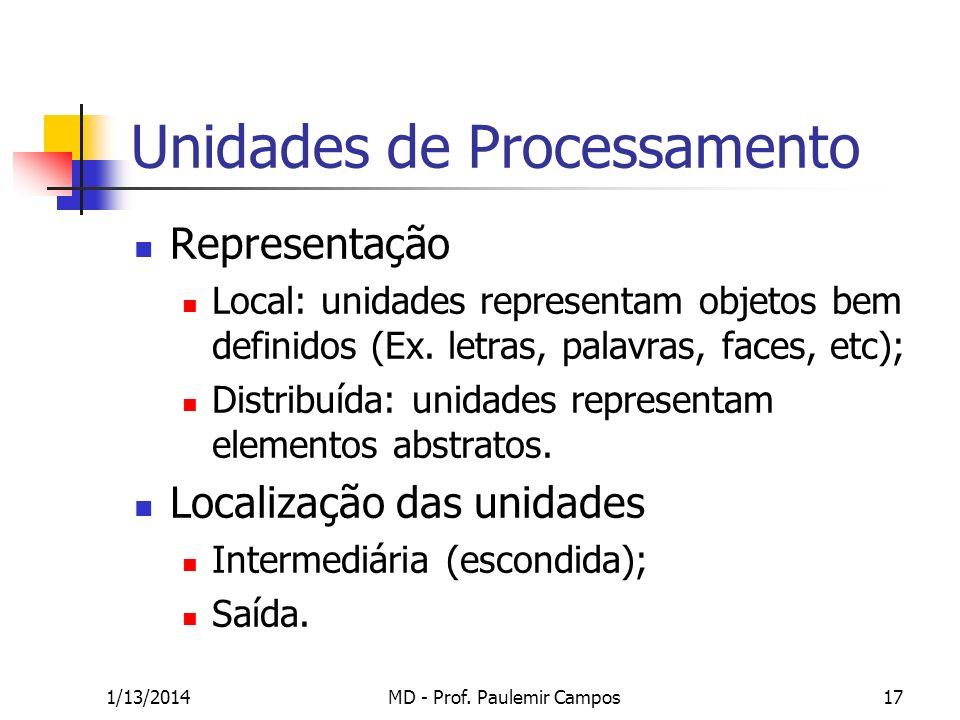 1/13/2014MD - Prof. Paulemir Campos17 Unidades de Processamento Representação Local: unidades representam objetos bem definidos (Ex. letras, palavras,