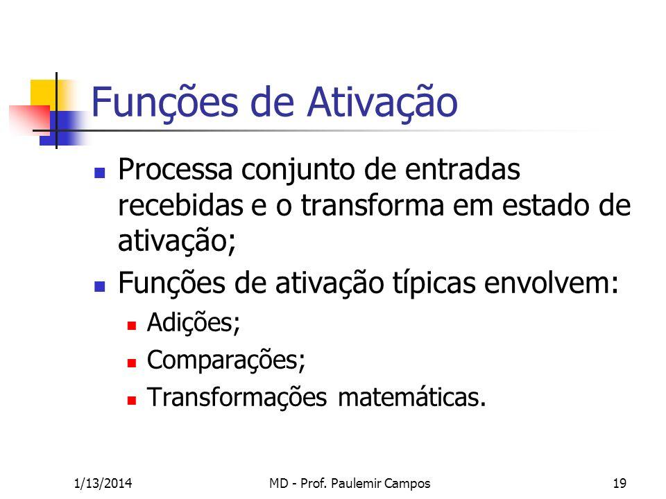 1/13/2014MD - Prof. Paulemir Campos19 Funções de Ativação Processa conjunto de entradas recebidas e o transforma em estado de ativação; Funções de ati