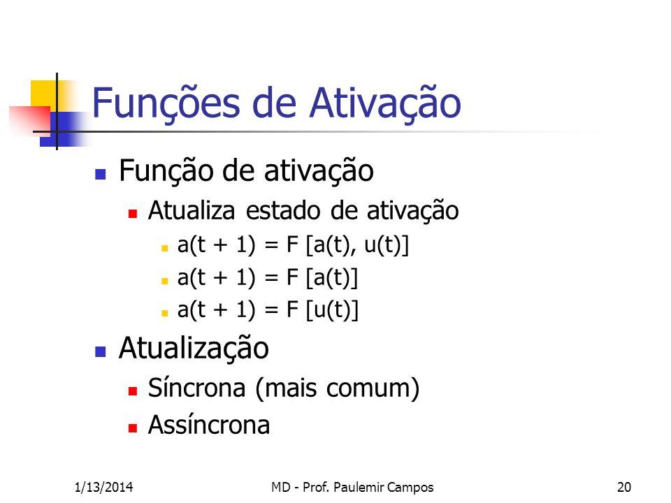 1/13/2014MD - Prof. Paulemir Campos20 Funções de Ativação Função de ativação Atualiza estado de ativação a(t + 1) = F [a(t), u(t)] a(t + 1) = F [a(t)]