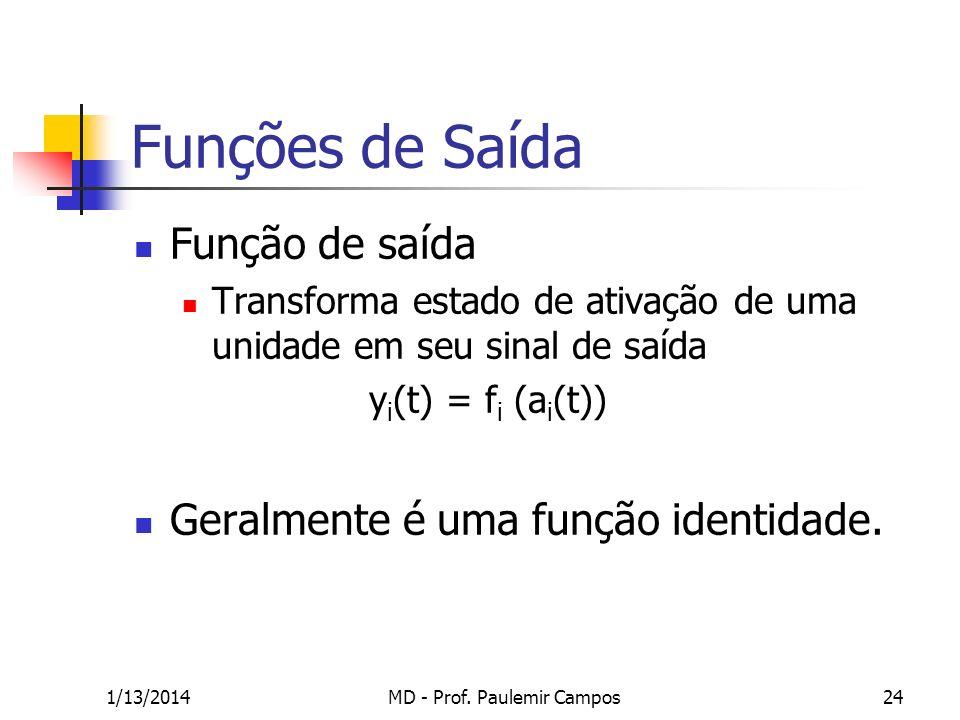 1/13/2014MD - Prof. Paulemir Campos24 Funções de Saída Função de saída Transforma estado de ativação de uma unidade em seu sinal de saída y i (t) = f