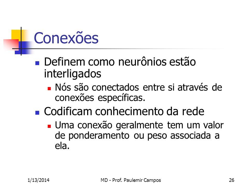 1/13/2014MD - Prof. Paulemir Campos26 Conexões Definem como neurônios estão interligados Nós são conectados entre si através de conexões específicas.