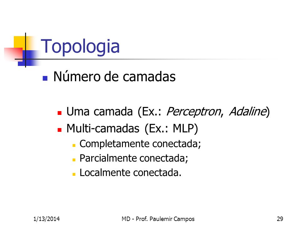 1/13/2014MD - Prof. Paulemir Campos29 Topologia Número de camadas Uma camada (Ex.: Perceptron, Adaline) Multi-camadas (Ex.: MLP) Completamente conecta