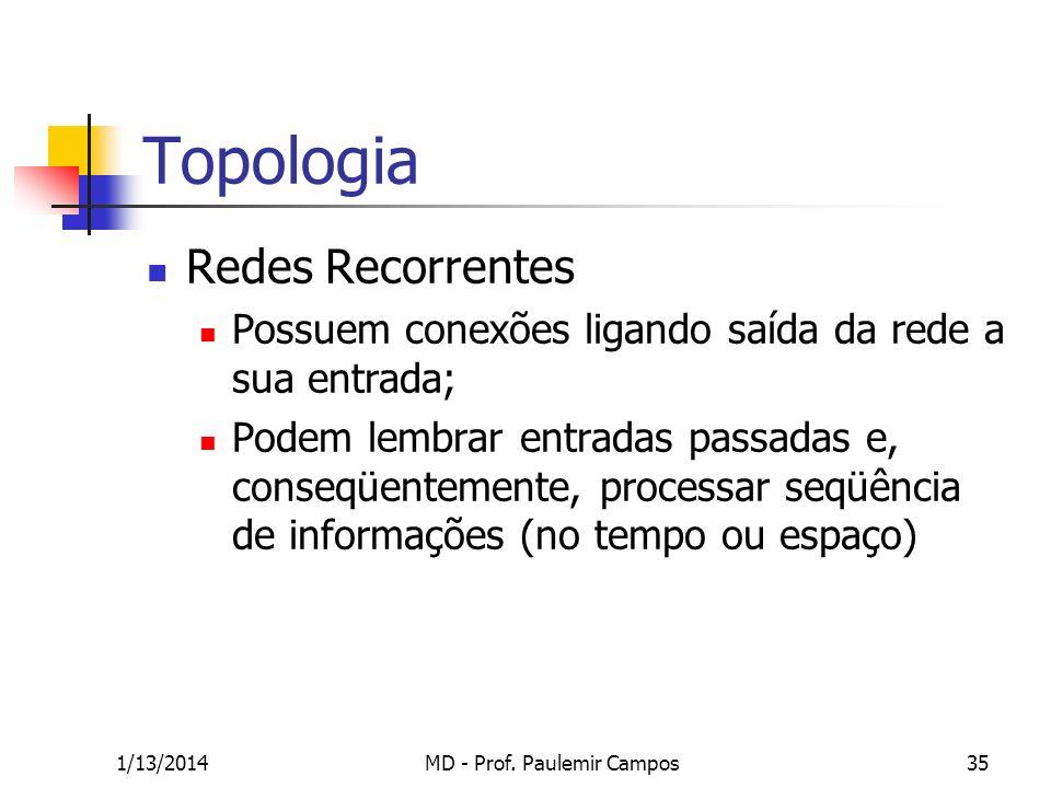 1/13/2014MD - Prof. Paulemir Campos35 Topologia Redes Recorrentes Possuem conexões ligando saída da rede a sua entrada; Podem lembrar entradas passada