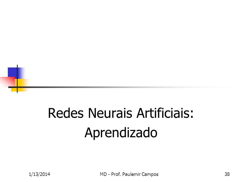 1/13/2014MD - Prof. Paulemir Campos38 Redes Neurais Artificiais: Aprendizado