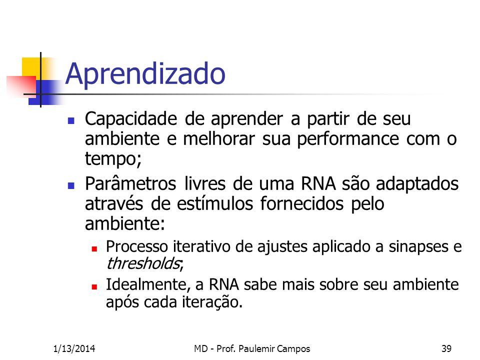 1/13/2014MD - Prof. Paulemir Campos39 Aprendizado Capacidade de aprender a partir de seu ambiente e melhorar sua performance com o tempo; Parâmetros l