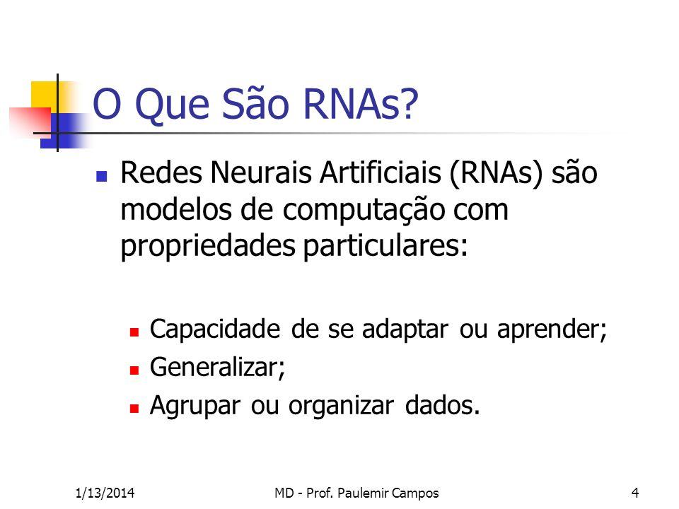 1/13/2014MD - Prof. Paulemir Campos4 O Que São RNAs? Redes Neurais Artificiais (RNAs) são modelos de computação com propriedades particulares: Capacid
