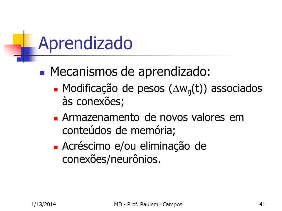 1/13/2014MD - Prof. Paulemir Campos41 Aprendizado Mecanismos de aprendizado: Modificação de pesos ( w ij (t)) associados às conexões; Armazenamento de