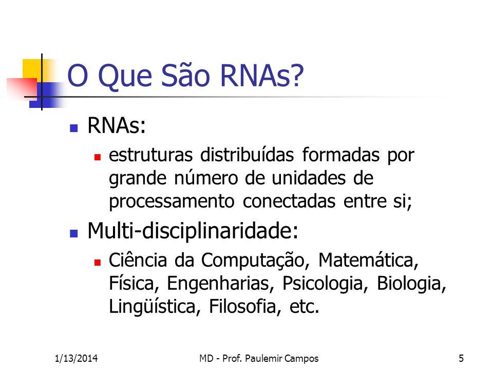 1/13/2014MD - Prof. Paulemir Campos5 O Que São RNAs? RNAs: estruturas distribuídas formadas por grande número de unidades de processamento conectadas