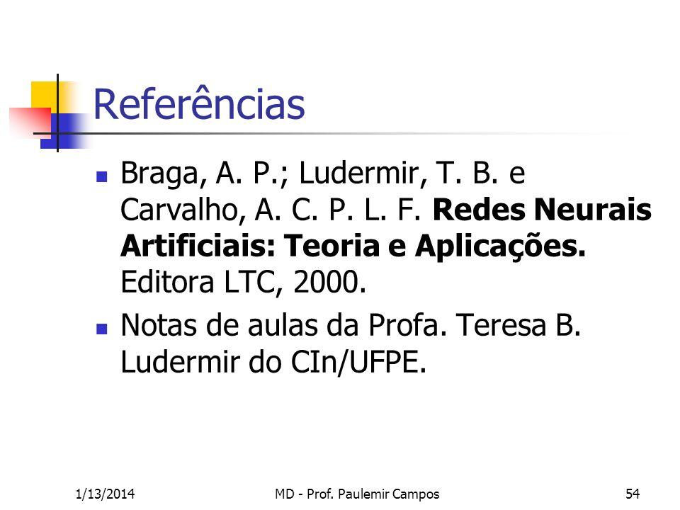 1/13/2014MD - Prof. Paulemir Campos54 Referências Braga, A. P.; Ludermir, T. B. e Carvalho, A. C. P. L. F. Redes Neurais Artificiais: Teoria e Aplicaç
