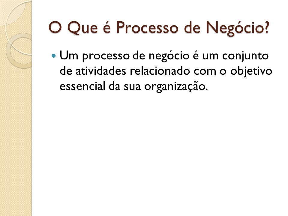 O Que é Processo de Negócio? Um processo de negócio é um conjunto de atividades relacionado com o objetivo essencial da sua organização.