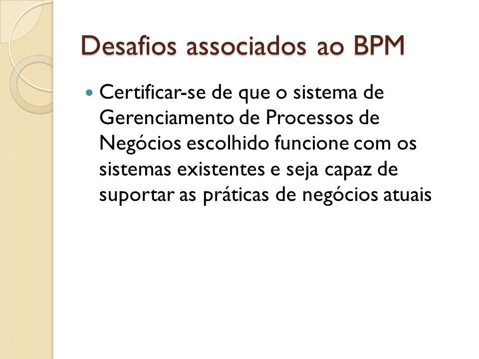 Desafios associados ao BPM Certificar-se de que o sistema de Gerenciamento de Processos de Negócios escolhido funcione com os sistemas existentes e se