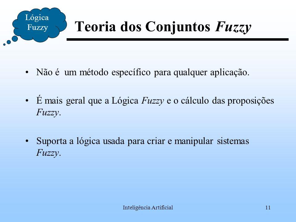 Inteligência Artificial11 Teoria dos Conjuntos Fuzzy Não é um método específico para qualquer aplicação. É mais geral que a Lógica Fuzzy e o cálculo d