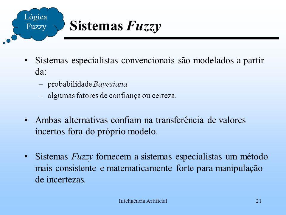 Inteligência Artificial21 Lógica Fuzzy Sistemas Fuzzy Sistemas especialistas convencionais são modelados a partir da: –probabilidade Bayesiana –alguma
