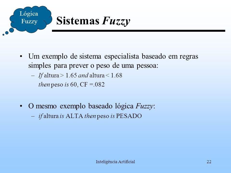 Inteligência Artificial22 Lógica Fuzzy Sistemas Fuzzy Um exemplo de sistema especialista baseado em regras simples para prever o peso de uma pessoa: –