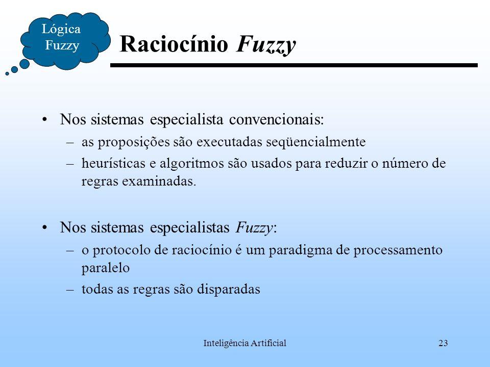 Inteligência Artificial23 Lógica Fuzzy Raciocínio Fuzzy Nos sistemas especialista convencionais: –as proposições são executadas seqüencialmente –heurí