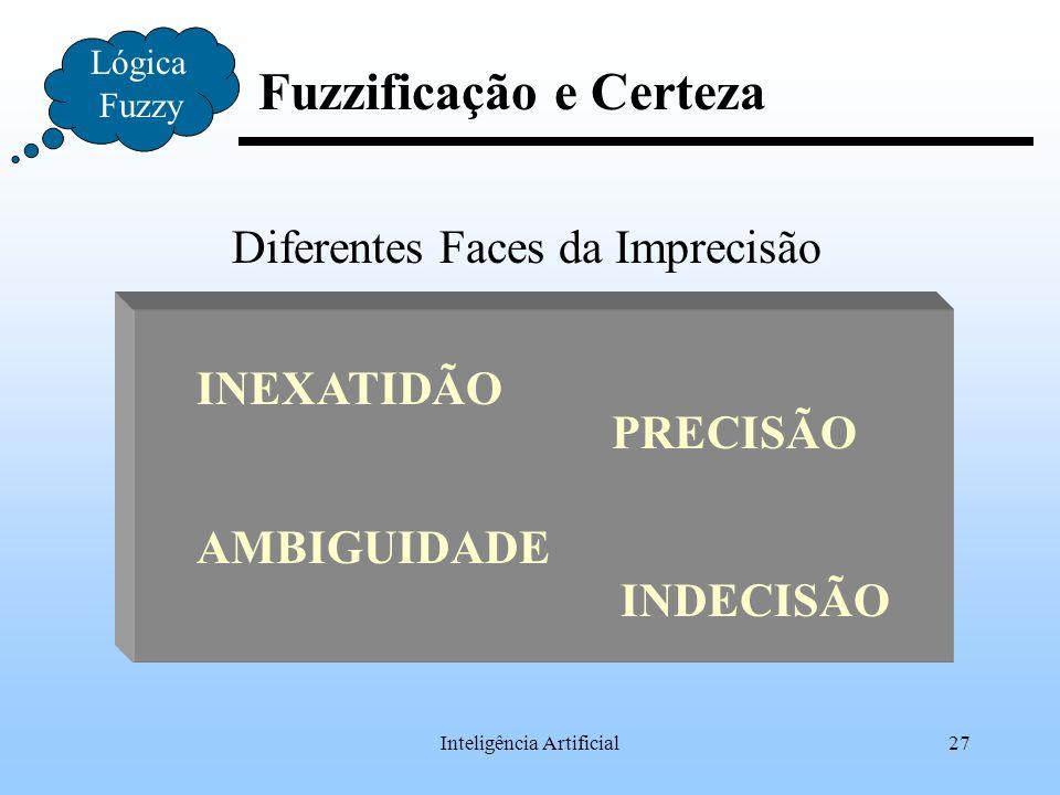 Inteligência Artificial27 Fuzzificação e Certeza Lógica Fuzzy Diferentes Faces da Imprecisão INEXATIDÃO PRECISÃO INDECISÃO AMBIGUIDADE
