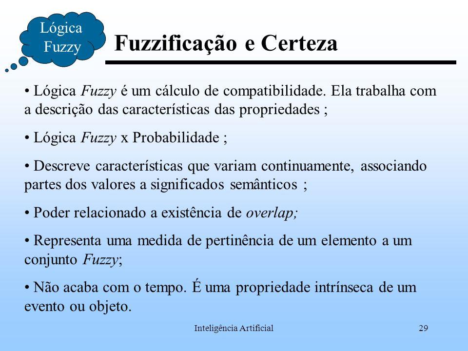 Inteligência Artificial29 Fuzzificação e Certeza Lógica Fuzzy Lógica Fuzzy é um cálculo de compatibilidade. Ela trabalha com a descrição das caracterí