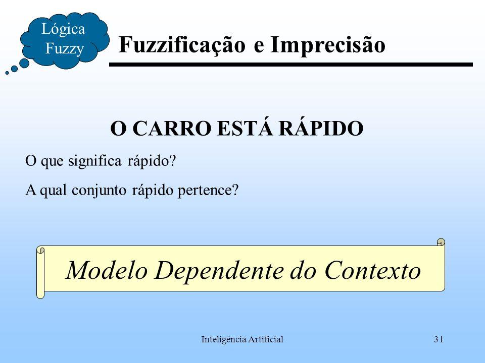 Inteligência Artificial31 Fuzzificação e Imprecisão Lógica Fuzzy O CARRO ESTÁ RÁPIDO O que significa rápido? A qual conjunto rápido pertence? Modelo D
