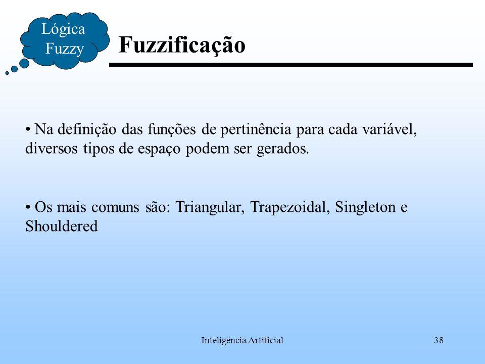Inteligência Artificial38 Fuzzificação Lógica Fuzzy Na definição das funções de pertinência para cada variável, diversos tipos de espaço podem ser ger