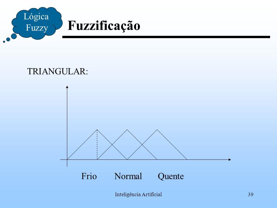 Inteligência Artificial39 Fuzzificação Lógica Fuzzy TRIANGULAR: FrioNormalQuente
