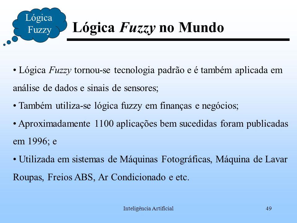 Inteligência Artificial49 Lógica Fuzzy no Mundo Lógica Fuzzy Lógica Fuzzy tornou-se tecnologia padrão e é também aplicada em análise de dados e sinais