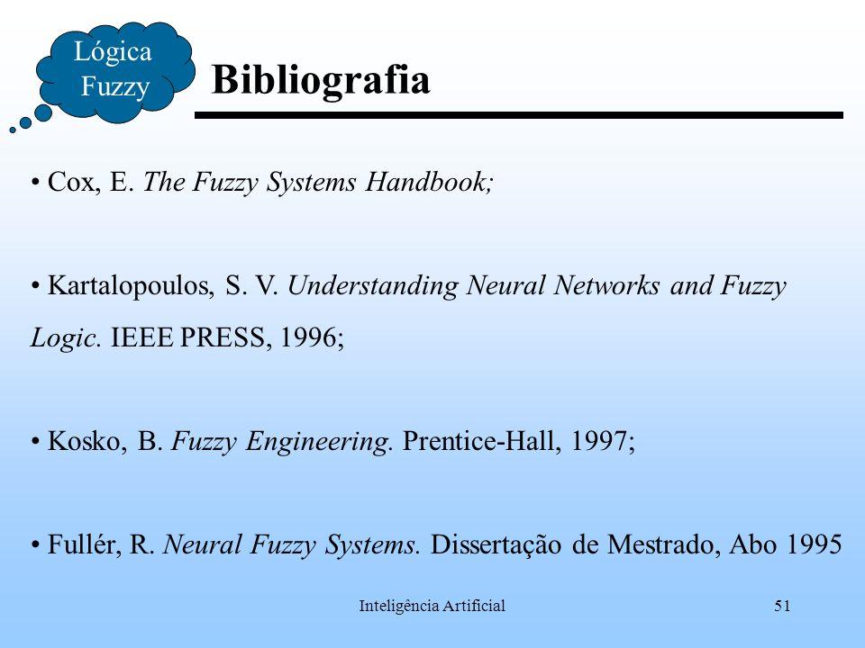 Inteligência Artificial51 Bibliografia Lógica Fuzzy Cox, E. The Fuzzy Systems Handbook; Kartalopoulos, S. V. Understanding Neural Networks and Fuzzy L