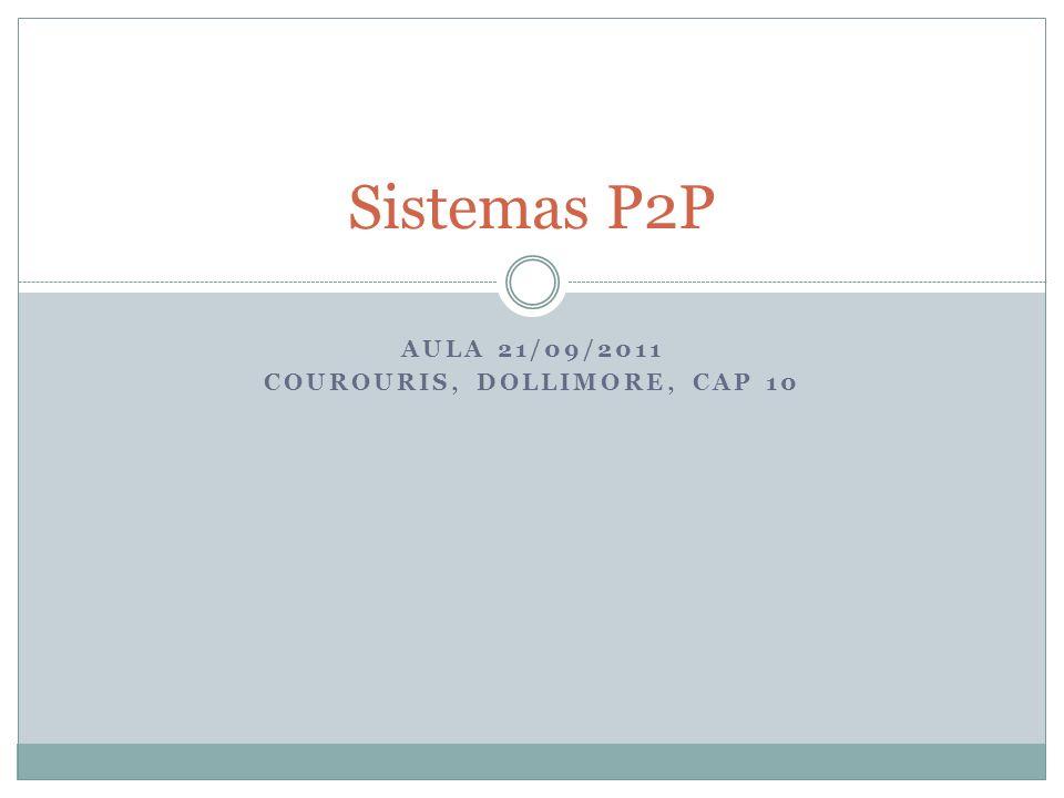 AULA 21/09/2011 COUROURIS, DOLLIMORE, CAP 10 Sistemas P2P