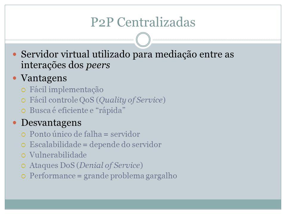 P2P Centralizadas Servidor virtual utilizado para mediação entre as interações dos peers Vantagens Fácil implementação Fácil controle QoS (Quality of