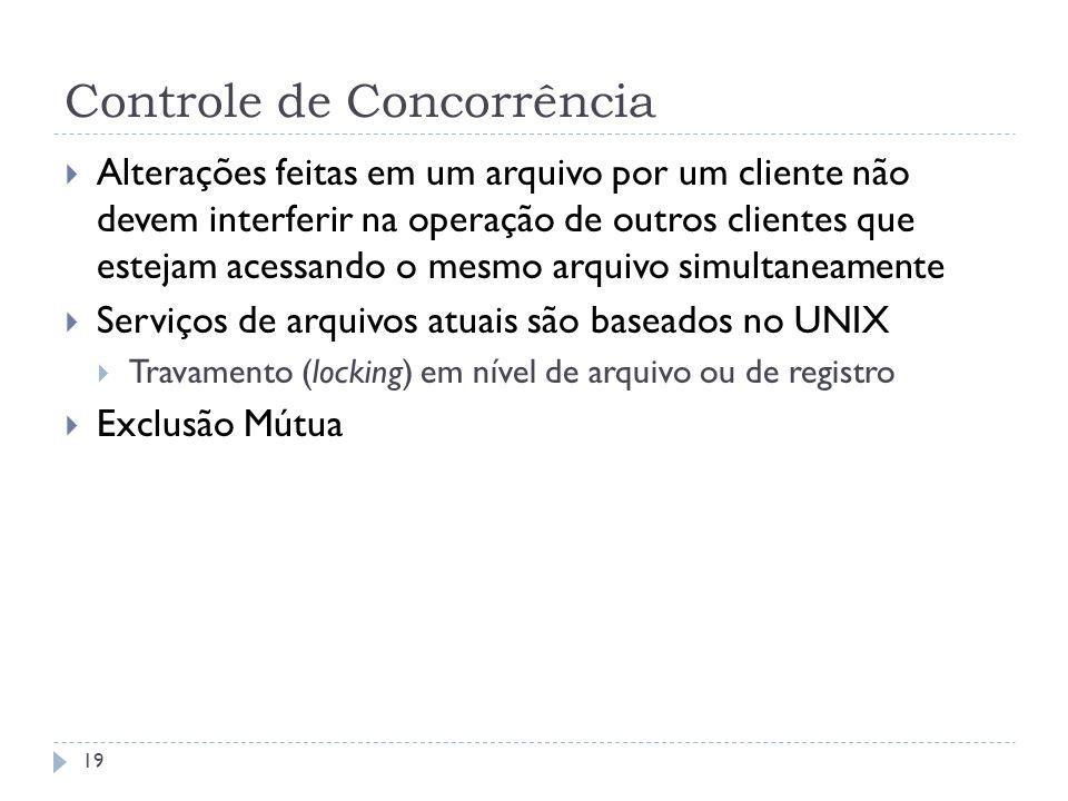 Controle de Concorrência 19 Alterações feitas em um arquivo por um cliente não devem interferir na operação de outros clientes que estejam acessando o