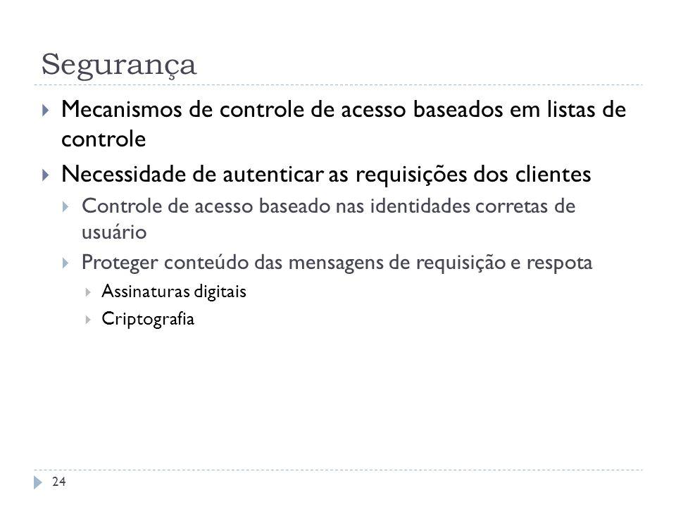Segurança Mecanismos de controle de acesso baseados em listas de controle Necessidade de autenticar as requisições dos clientes Controle de acesso bas