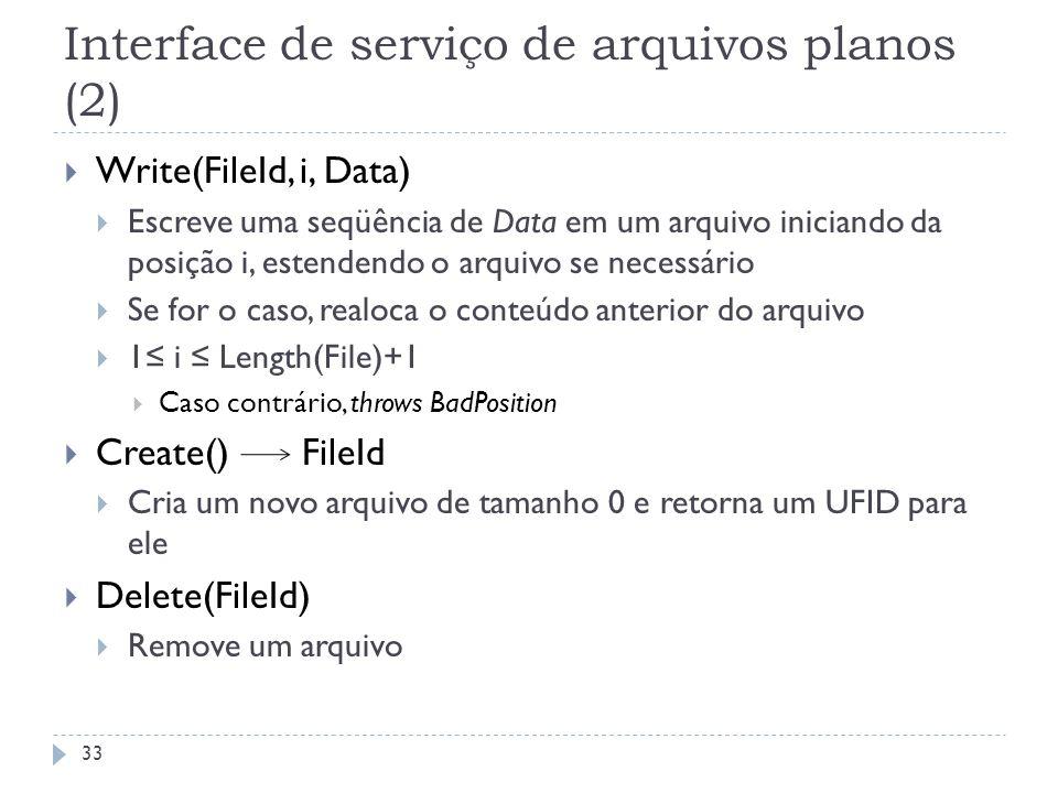 Interface de serviço de arquivos planos (2) Write(FileId, i, Data) Escreve uma seqüência de Data em um arquivo iniciando da posição i, estendendo o ar