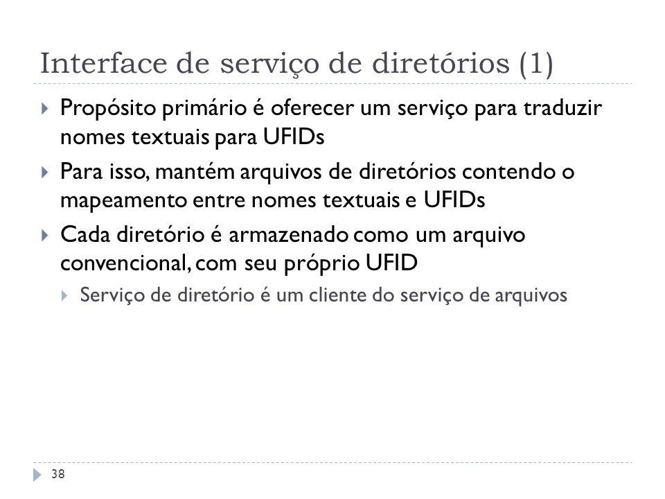 Interface de serviço de diretórios (1) Propósito primário é oferecer um serviço para traduzir nomes textuais para UFIDs Para isso, mantém arquivos de