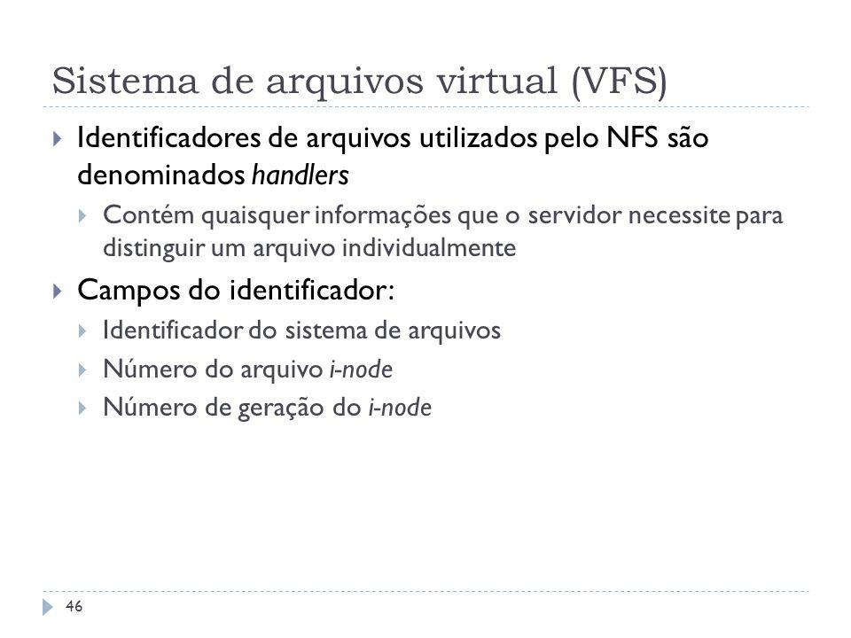 Sistema de arquivos virtual (VFS) Identificadores de arquivos utilizados pelo NFS são denominados handlers Contém quaisquer informações que o servidor