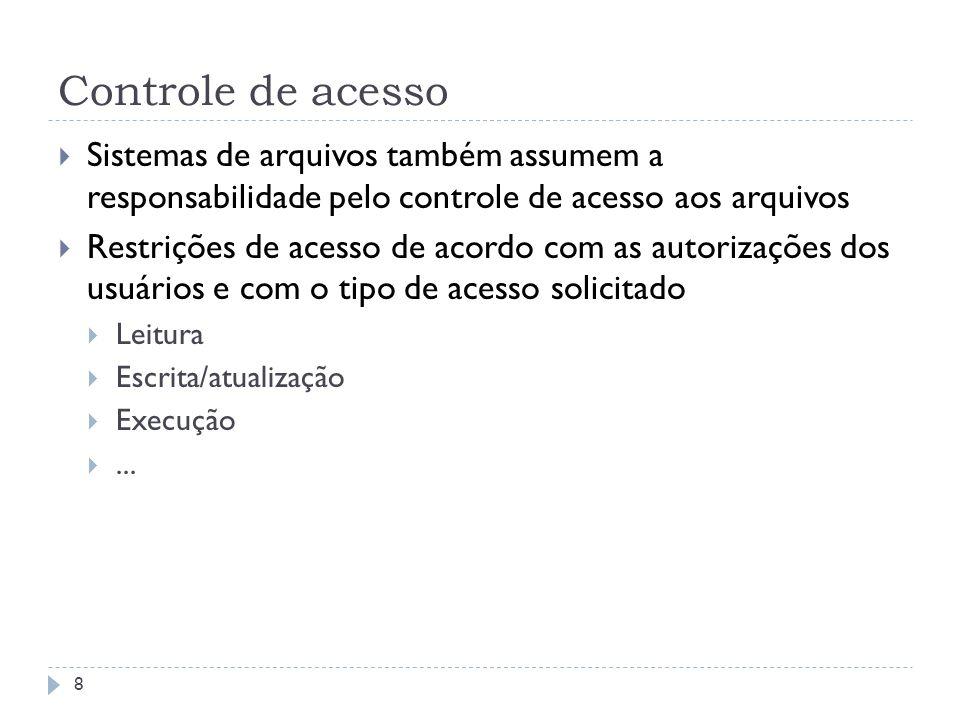Controle de acesso 8 Sistemas de arquivos também assumem a responsabilidade pelo controle de acesso aos arquivos Restrições de acesso de acordo com as