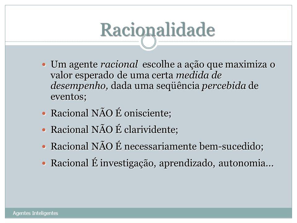 Racionalidade 10 Um agente racional escolhe a ação que maximiza o valor esperado de uma certa medida de desempenho, dada uma seqüência percebida de ev