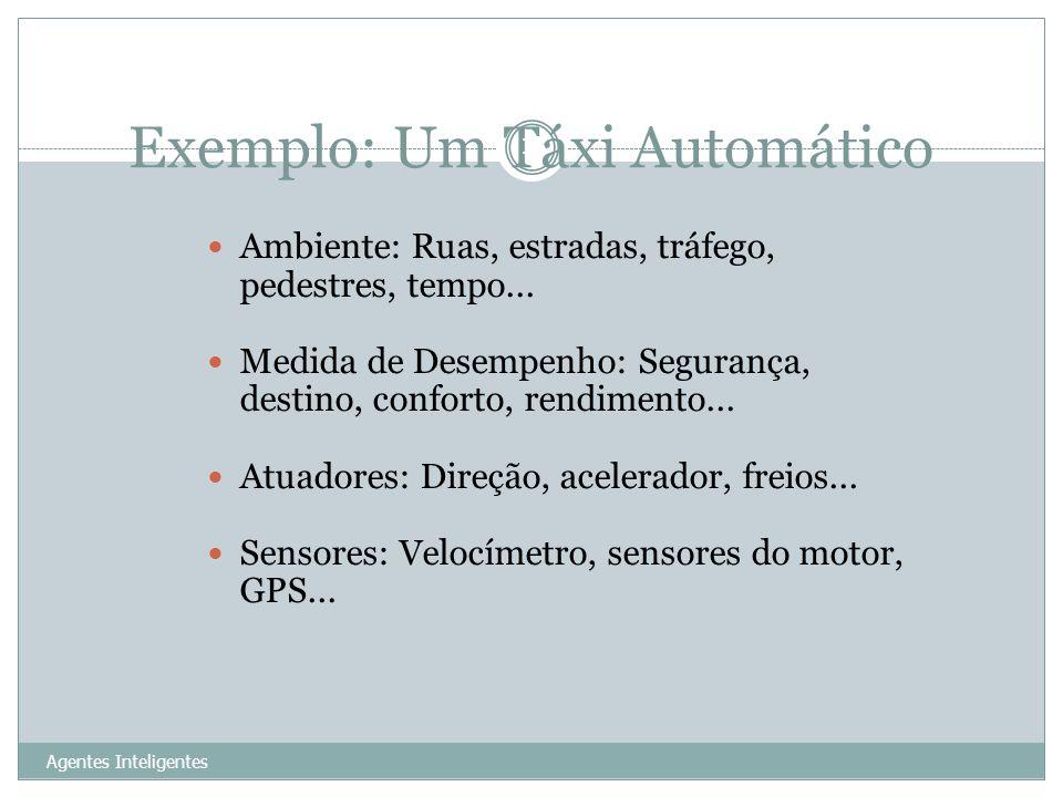 Exemplo: Um Táxi Automático Agentes Inteligentes 13 Ambiente: Ruas, estradas, tráfego, pedestres, tempo... Medida de Desempenho: Segurança, destino, c