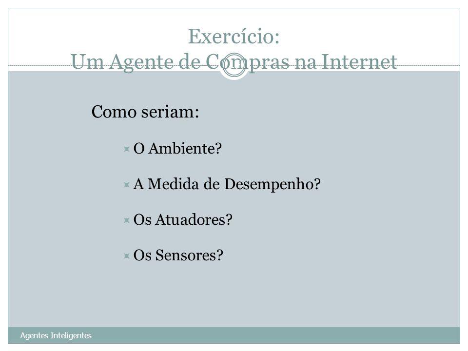 Exercício: Um Agente de Compras na Internet Agentes Inteligentes 14 Como seriam: O Ambiente? A Medida de Desempenho? Os Atuadores? Os Sensores?