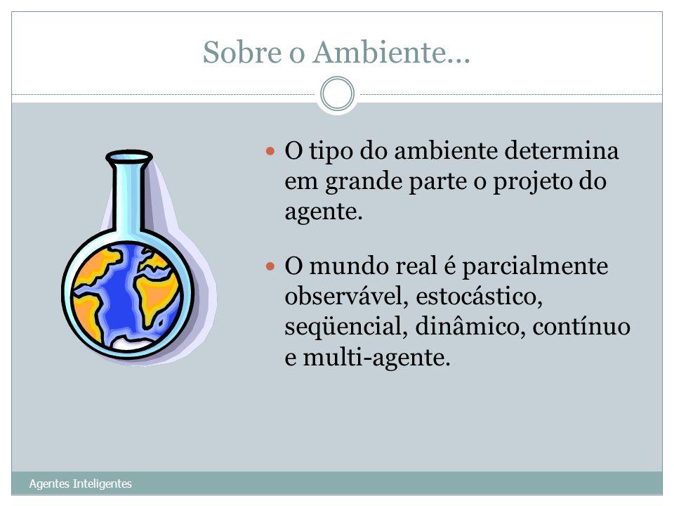 Sobre o Ambiente... Agentes Inteligentes 17 O tipo do ambiente determina em grande parte o projeto do agente. O mundo real é parcialmente observável,