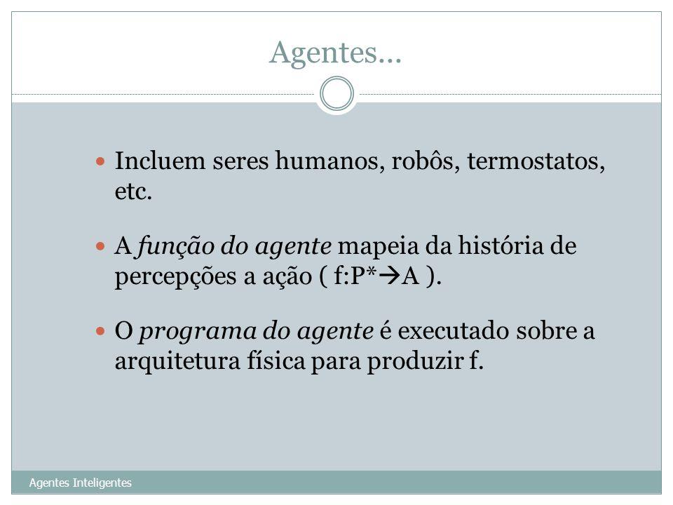 Agentes... Agentes Inteligentes 6 Incluem seres humanos, robôs, termostatos, etc. A função do agente mapeia da história de percepções a ação ( f:P* A