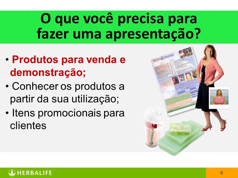 6 O que você precisa para fazer uma apresentação? Produtos para venda e demonstração; Conhecer os produtos a partir da sua utilização; Itens promocion