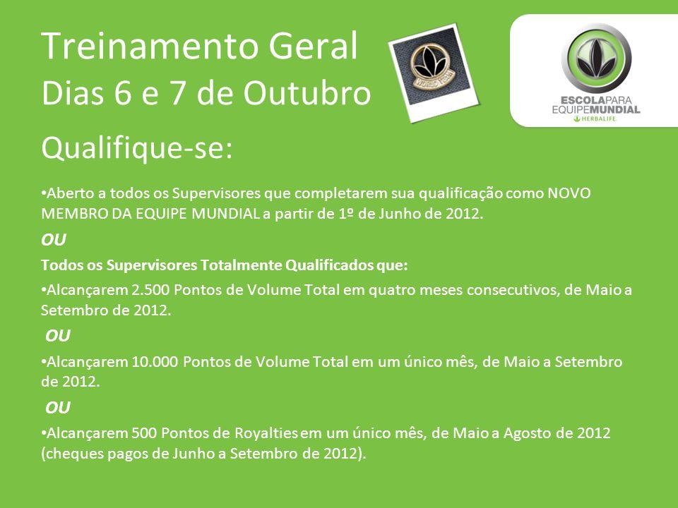 Treinamento Geral Dias 6 e 7 de Outubro Qualifique-se: Aberto a todos os Supervisores que completarem sua qualificação como NOVO MEMBRO DA EQUIPE MUND