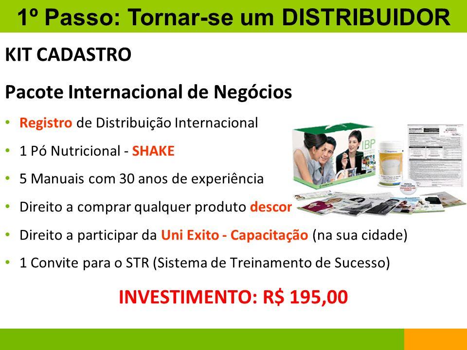 KIT CADASTRO Pacote Internacional de Negócios Registro de Distribuição Internacional 1 Pó Nutricional - SHAKE 5 Manuais com 30 anos de experiência Dir