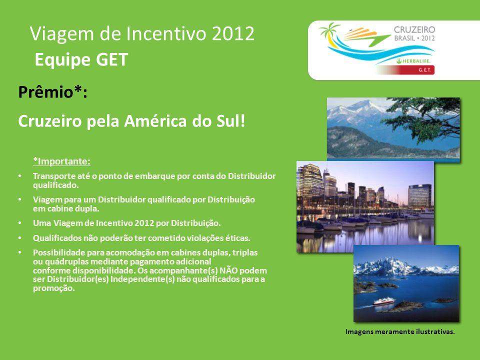 Viagem de Incentivo 2012 Equipe GET Imagens meramente ilustrativas. Prêmio*: Cruzeiro pela América do Sul! *Importante: Transporte até o ponto de emba