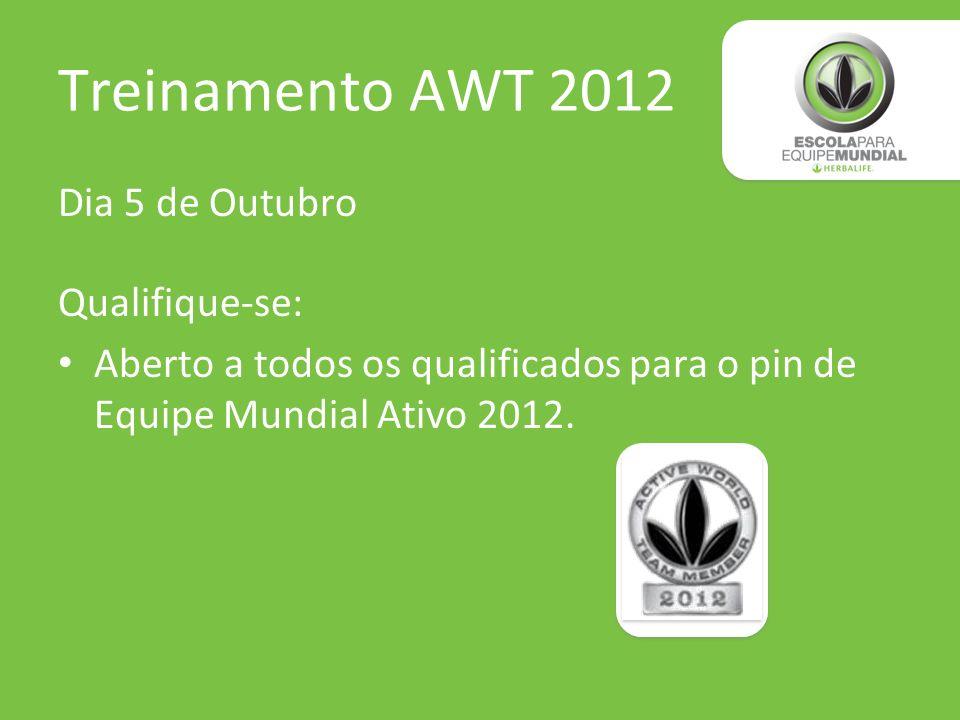 Treinamento AWT 2012 Dia 5 de Outubro Qualifique-se: Aberto a todos os qualificados para o pin de Equipe Mundial Ativo 2012.